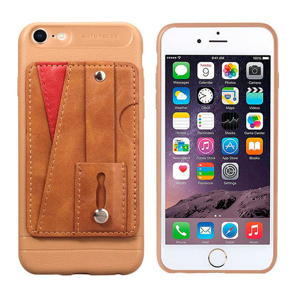 Brown Case with Wallet Card and Grip - كفر مع مسكة ومحفظة