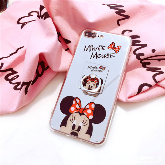 Red Minnie - Mirror Case with Ring - احمر