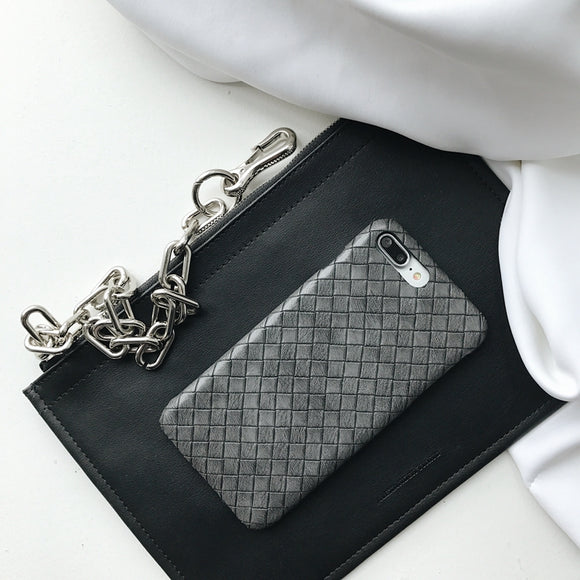 Grey - Bottega Leather Case - رمادي