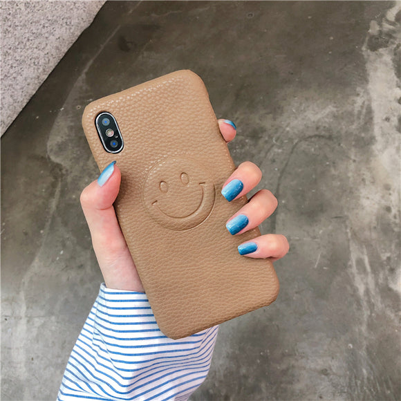 Brown Smile Face Leather Case