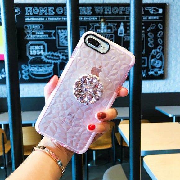 Pink Glitter Diamond Case with POP Grip - كفر مع مسكة دائرية
