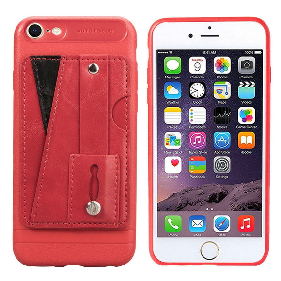 Red Case with Wallet Card and Grip - كفر مع مسكة ومحفظة