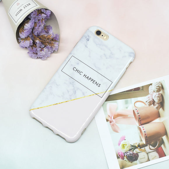 Marble Chic Happens - White Pink Case
