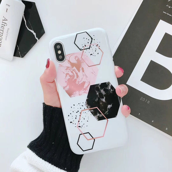 White Pink Black Marble Candy Case