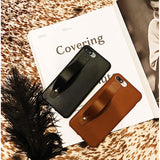 Leather Case with Hand Strap Grip - Black - اسود