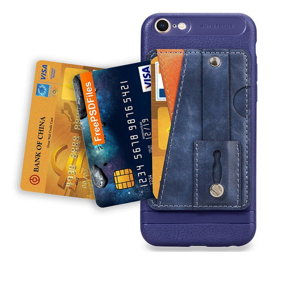 Blue Case with Wallet Card and Grip - كفر مع مسكة ومحفظة
