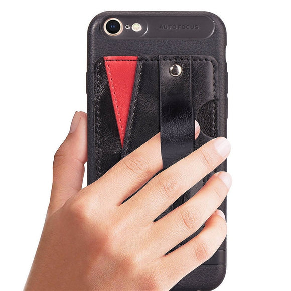 Black Case with Wallet Card and Grip - كفر مع مسكة ومحفظة