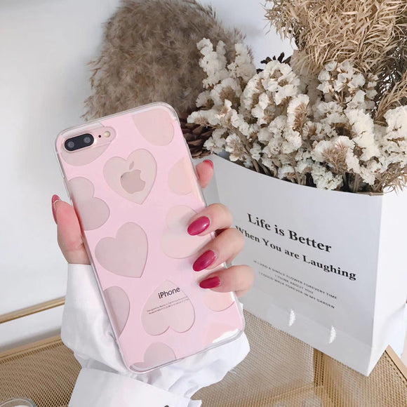 Pink Transparent Heart Case