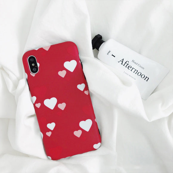 Small and Big White Red Hearts Case
