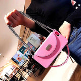 Pink Silicon Wallet Case with Chain