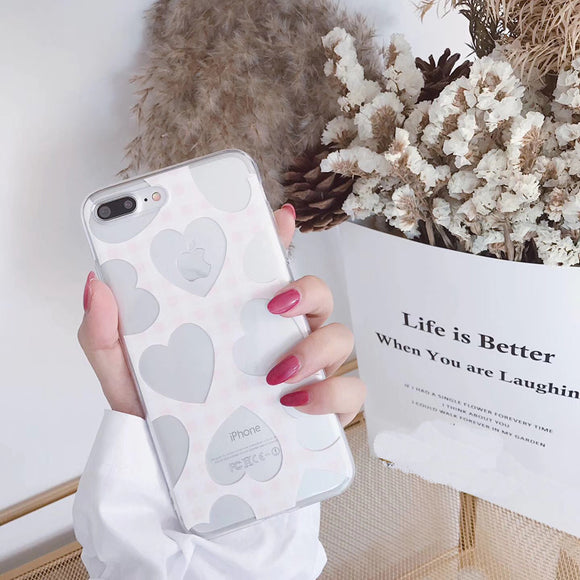 White Transparent Heart Case