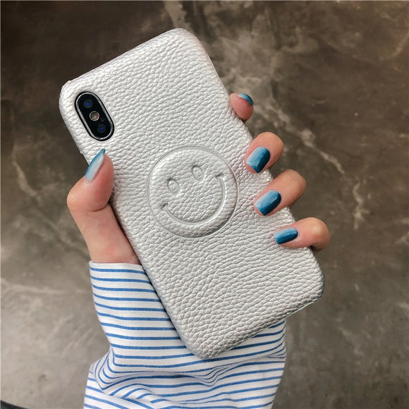 Silver Smile Face Leather Case