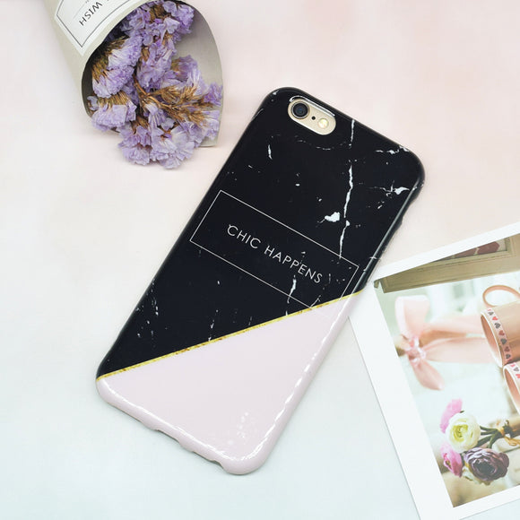 Marble Chic Happens - Black Pink Case