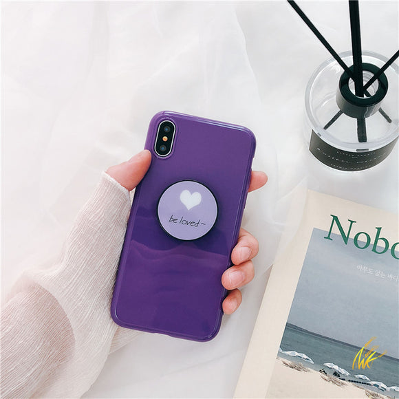 Dark Purple Be Loved Case with POP Grip - كفر مع مسكة دائرية