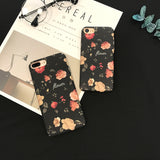 Black Flowers Case with Pink Flowers - PC - بلاستك