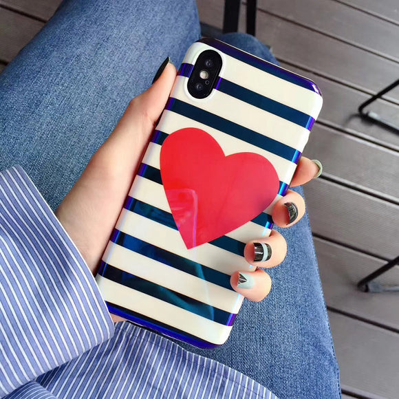 Red Big Heart with Black White Stripes Case