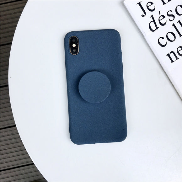 Dark Blue Plain Case with POP Grip - كفر مع مسكة دائرية