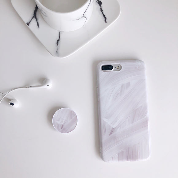 White Gradient Case with POP Grip - كفر مع مسكة دائرية