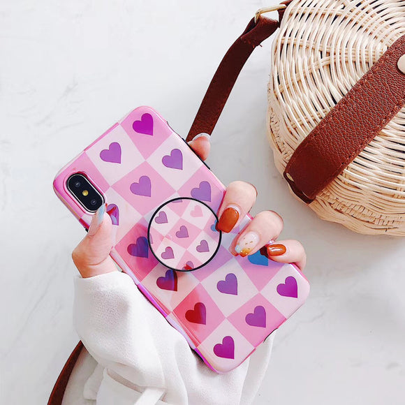 Light Dark Pink Heart Case with POP Grip - كفر مع مسكة دائرية