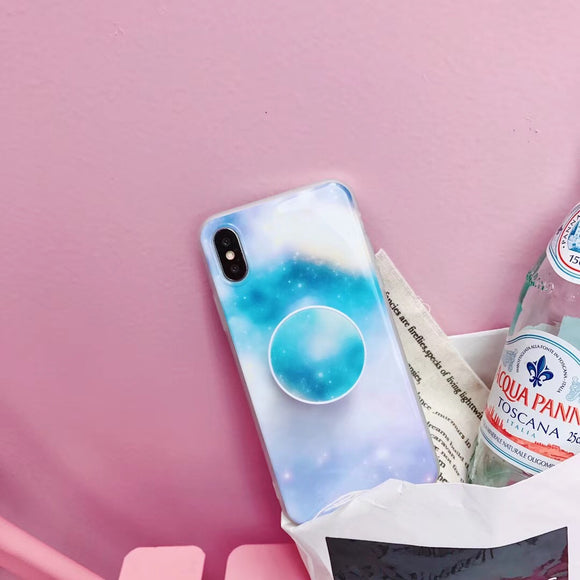 Light Blue Sky Case with POP Grip - كفر مع مسكة دائرية