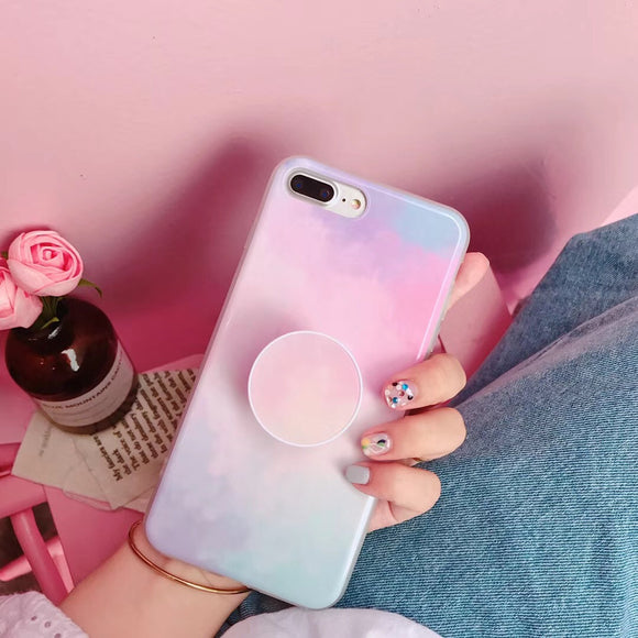 Light Pink with Light Blue Case with POP Grip - كفر مع مسكة دائرية