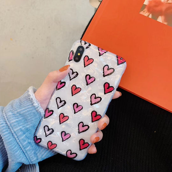 White Case with Red and Pink Mini Hearts
