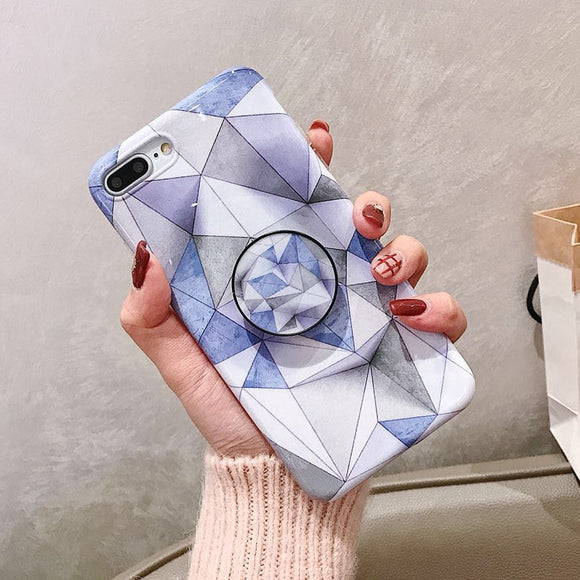 Luxury Marble Blue Case with POP Grip - كفر مع مسكة دائرية