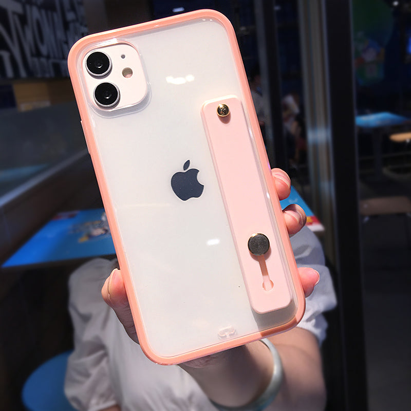 Pink Clear Phone Case with Strap - كفر مع مسكة شريطة