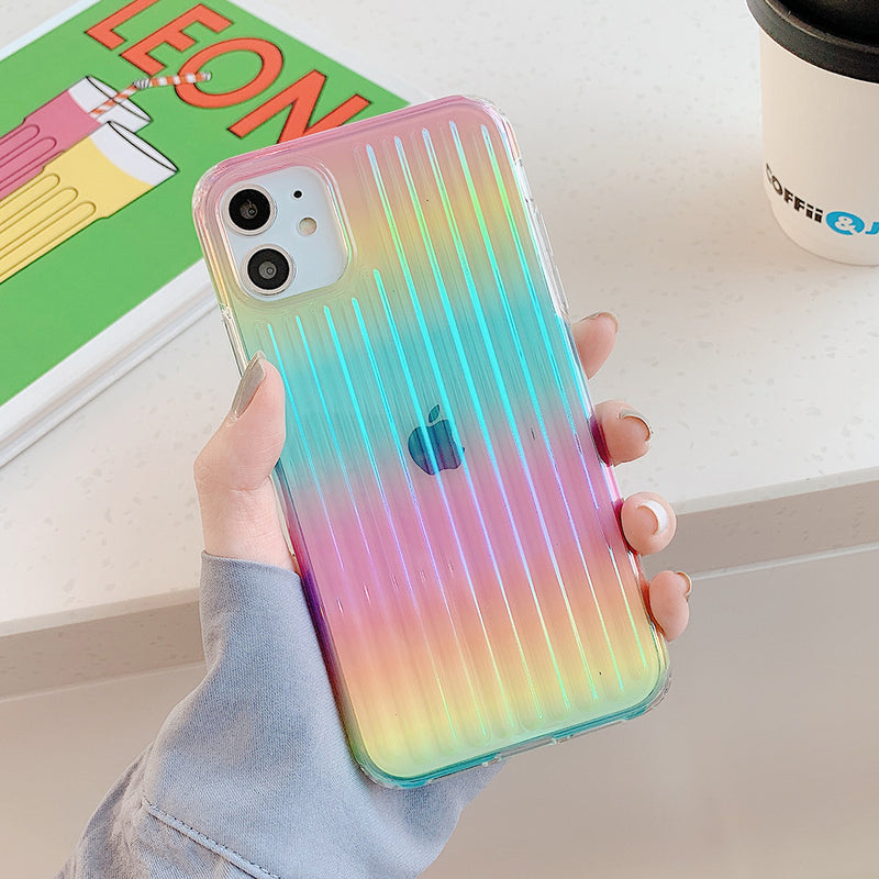 Colorful Laser Stripe Phone Case - A