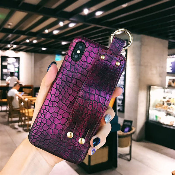 Purple Crocodile Skin Case with Strap - كفر مع مسكة شريطة