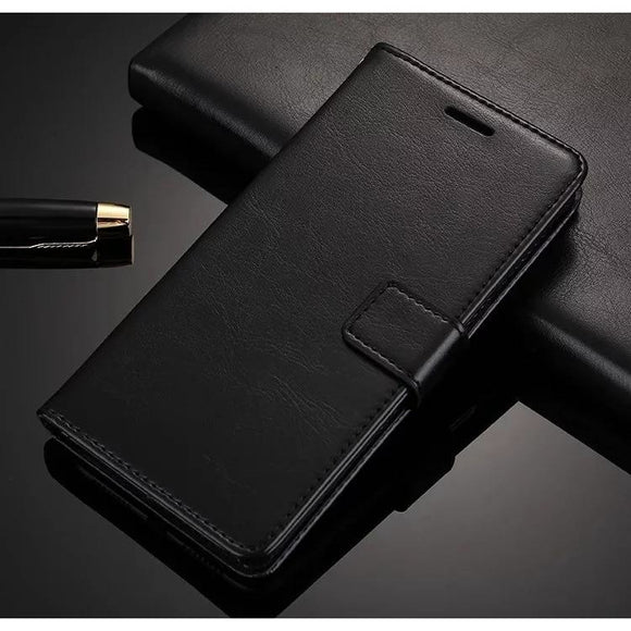 Leather Black Wallet Case with Card Slot
