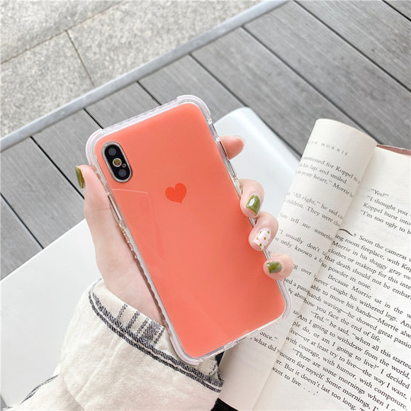 Orange Anti-knock Shockproof Heart Case