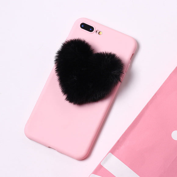 Pink Case with Black Fluffy