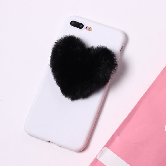 White Case with Black Fluffy