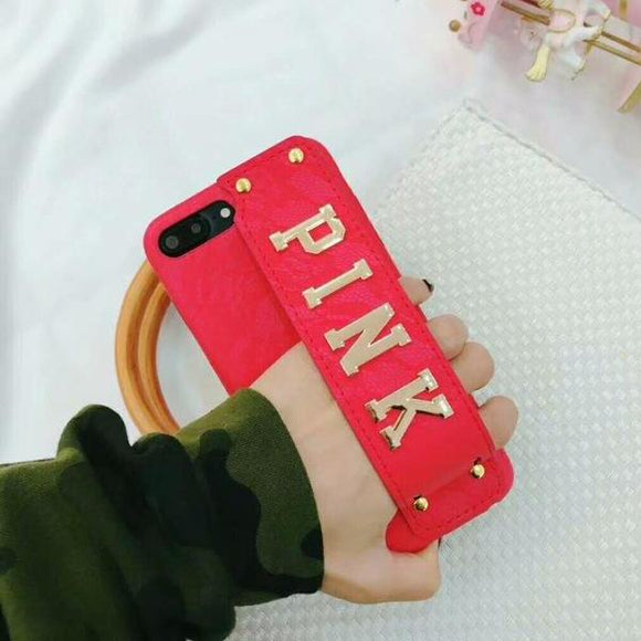 Red Color Pink Case with Strap