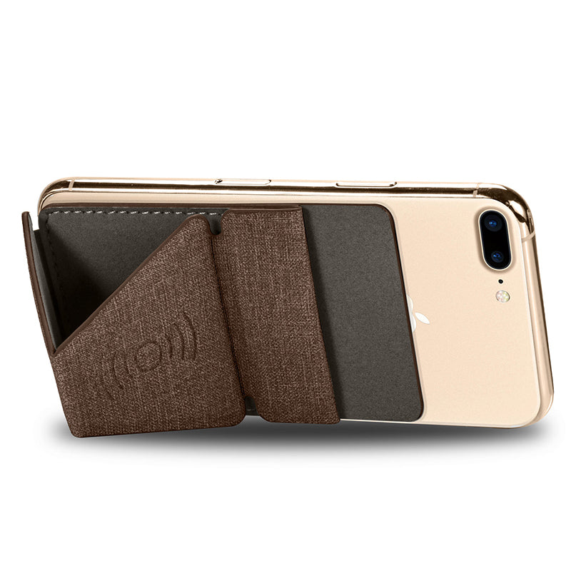 HDCI Phone Grip Stand - Brown - مسكة وستاند راسي وجانبي ومحفظة للبطاقات والنقود