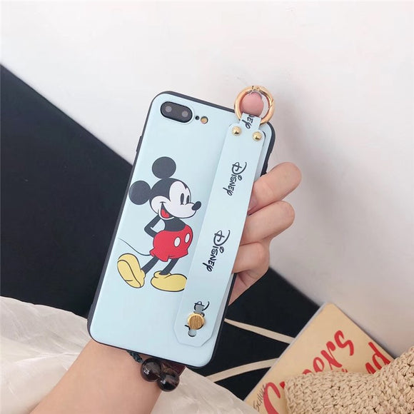 Blue Mickey Mouse Case with Strap - كفر مع مسكة شريطة
