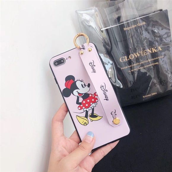 Pink Minnie Mouse Case with Strap - كفر مع مسكة شريطة