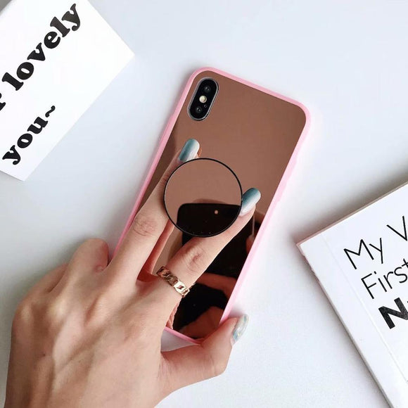 Pink Side Mirror Case with POP Grip - كفر مع مسكة دائرية