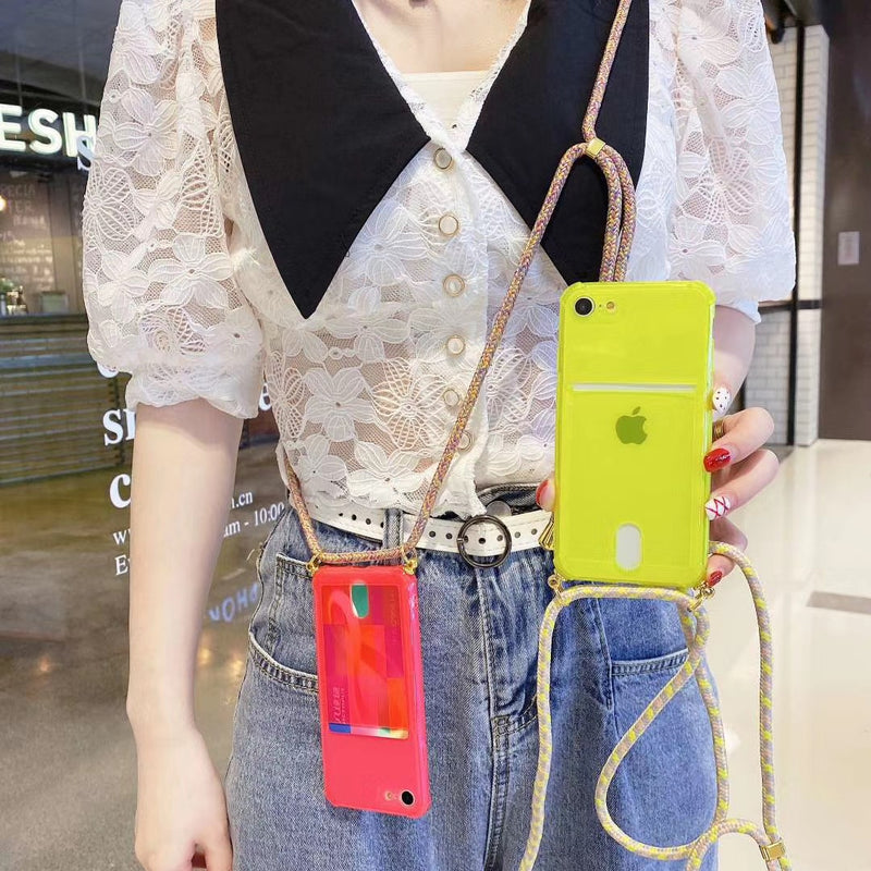 Yellow Clear Case with Back Card Slot and Lanyard - كفر مع خيط علاقة ومكان للبطاقات