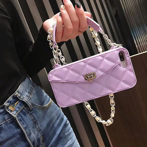 Purple Wallet Case with Chain