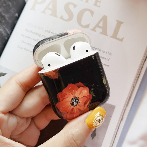 Oil Painting Black Flower AirPods Case