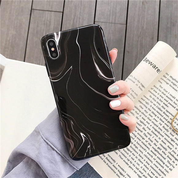 Black Marble Case with Random Lines