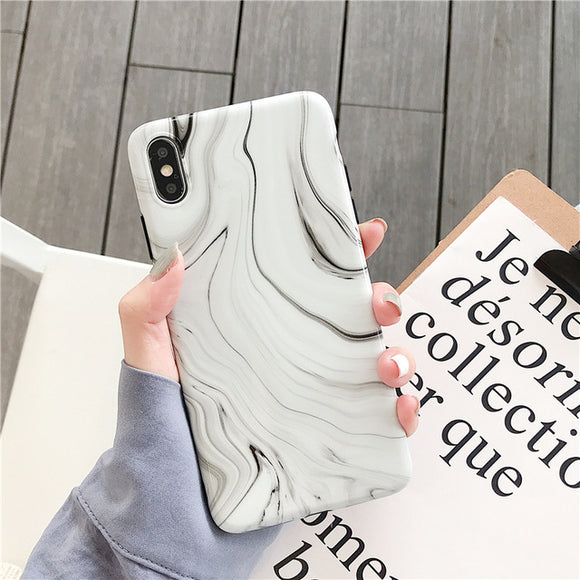 White Marble Case with Random Lines