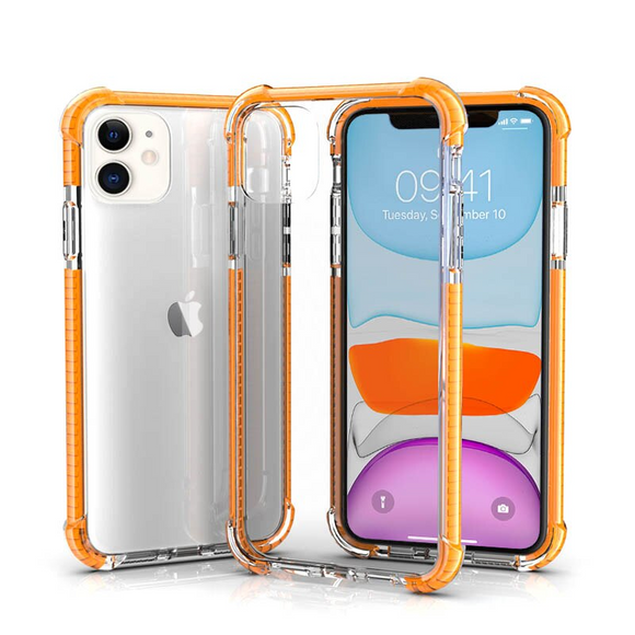 Orange Hybrid Shockproof TPU Clear Case