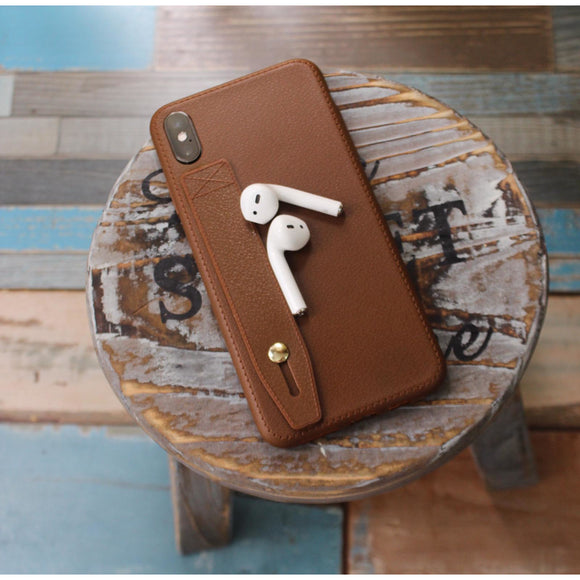 Leather Case with Hand Strap Grip - Brown - بني - كفر مع مسكة شريطة
