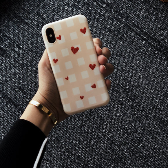 Pink Red Square Hearts Case