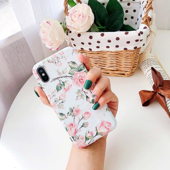Floral Flowers Pink White Case
