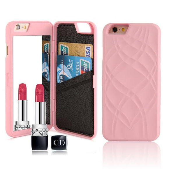 Case with Mirror and Wallet Card Slot - Light Pink - كفر مراية ومحفظة للبطاقات