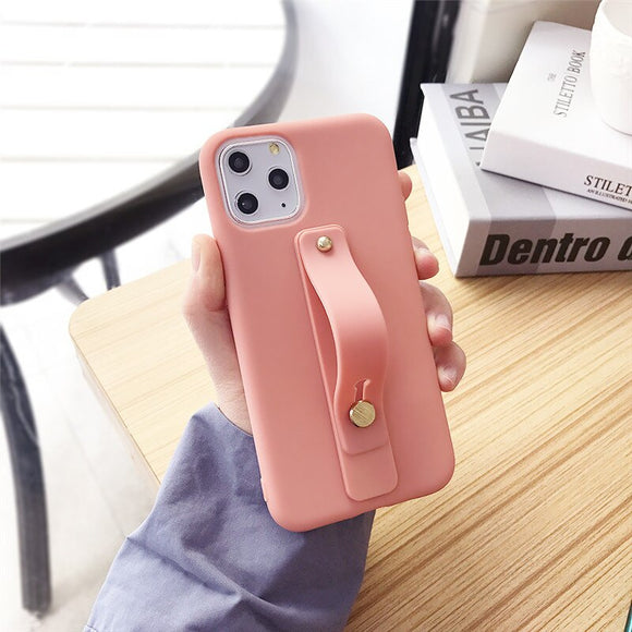 Pink Phone Holder Case with Wrist Strap - كفر مع مسكة شريطة